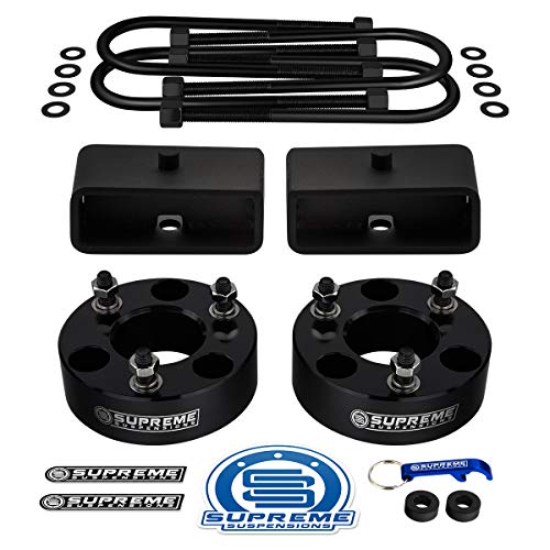 "Supreme Suspensions - Full Lift Kit for 2006-2008 Dodge Ram 1500 3"" Front Lift Strut Spacers + 2"" Rear Lift Blocks + Round Bend U-Bolts 4WD / Dana 60 Rear Axle"