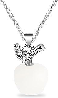 bobauna 3D Pink Opal Apple Shape Pendant Necklace Apple Jewelry Teachers Appreiation Gift for Mentor Coach Principal