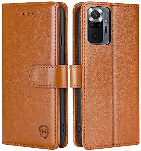 FMPCUON Hülle für Xiaomi Redmi Note 10 Pro/Redmi Note 10 Pro Max Handyhülle [Standfunktion] [Magnetverschluss] Tasche Flip Hülle Schutzhülle lederhülle flip case für Braun