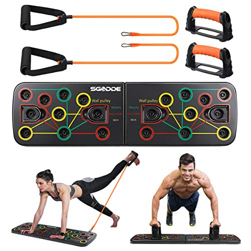SGODDE Push Up Board, 13 in 1 Push Up Fitness System Stand, Pieghevole Multifunzionali Body Buiding Push Up Rack Board, con Fascia di Resistenza Attrezzature per il Fitness e Palestra Maniglia Push Up