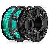 PLA imprimante 3D Filament 1.75mm, PLA 3D Printing Filament, PLA Filament 2KG (4.4 lb) PLA Black+Grass Green