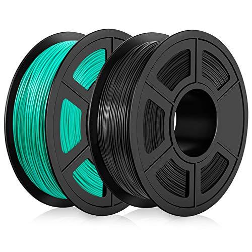 PLA Filament 1,75mm, PLA 3D Drucker Filament, PLA Filamenr 2KG (4,4 lb) PLA Black+Grass Green