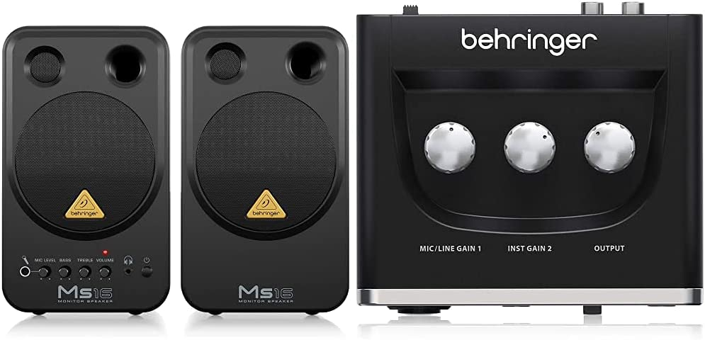 Behringer Ms 16 Monitores De Estudio (16 W, 80 Hz 20 Khz), Color Negro + U-Phoria Um2 Equipos De Música Adicionales Negro