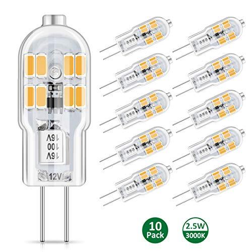 AMBOTHER G4 LED Lampen, 2.5W 300LM G4 LED Birnen Warmweiß 3000K Nicht Dimmbar Leuchtmittel Stiftsockellampe Glühbirne ersetzt 20W Halogenlampe, Kein Flackern, 360° Lichtwinkel 12V AC/DC, 10er Pack