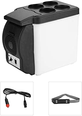 Portable Car Refrigerator, 6 Liter/0.21 Cuft/8 Can Personal Mini Refrigerator Car Fridge Freezer Electric Cooler and Warmer P