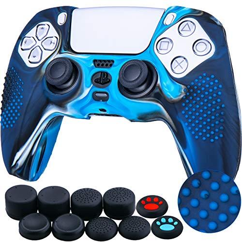 YoRHa Tachonado Silicona Caso Piel Fundas Protectores Cubierta para Sony PS5 Dualsense Mando x 1 (Azul Camuflaje) con Pro los puños Pulgar Thumb gripsx 8