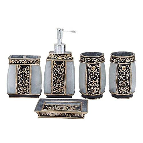 Yimidear 5-teilig Badezimmer Set: Seifenspender Zahnbürstenhalter Zahnputzbecher Seifenschale für Hotel & Hause