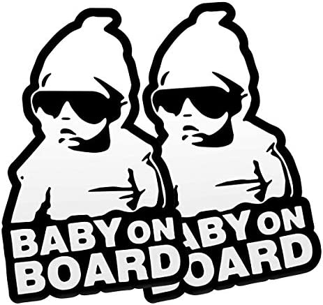 FINENIC Baby on Board Sticker for Cars 2 PCS Baby on Board Sign Decal No Need for Suction Cup product image