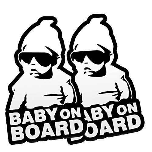 FINENIC Baby on Board Sticker for Cars (2 PCS) Baby on Board Sign Decal No Need for Suction Cup or Magnets Strong Adhesive/Removable/Reflective/Waterproof