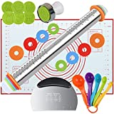 YAHAFI Rolling Pin And Pastry Baking mat set, Rolling Pin With Adjustable Thickness Ring, Stainless steel Dough Roller For baking Pizza, Fudge, Pies, Pastries, Biscuits, Pasta, Etc.