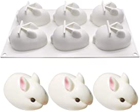 Silicone Molds Bunny Shape Baking for Mousse Cake Chocolate Cookie Dessert Biscuit Bread DIY Baking Tool (Bunny(6 Hole))