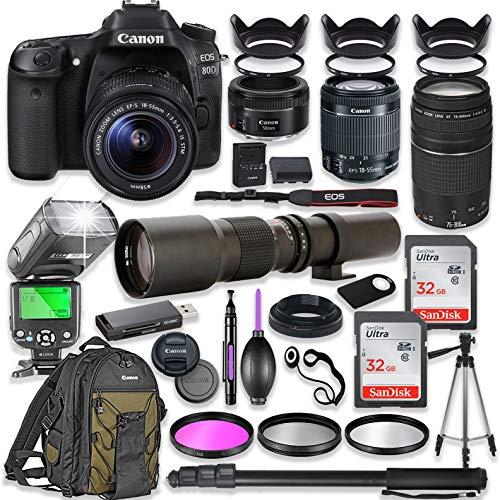 Canon EOS 80D DSLR Camera with 18-55mm Lens Bundle + Canon EF 75-300mm III Lens, Canon 50mm f/1.8 & 500mm Lens + TTL Flash + Backpack + 64GB Memory + Monopod + Professional Bundle …