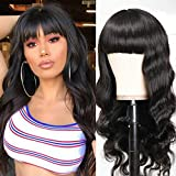 Catti Body Wave Wigs Brazilian None Lace Front Wigs Virgin Human Hair Wigs With Bangs Glueless Machine Made Wigs 130% Density For Black Women (18 inch)