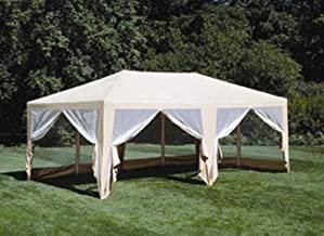 Formosa Covers Extra Large Deluxe Screen House Canopy Shade and Mosquito Protection for Everyday Outdoor Entertaining, Camping and Party Tent - Beige 12'x20'