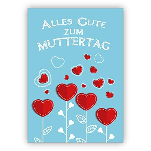 Prachtige felicitatie voor Moederdag met hart bloemen: alles goed voor Moederdag 16 Grußkarten