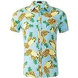 YCJ Camisa de Los Hombres de la Impresión de Algodón de Gran Tamaño Camisa de Manga Corta Del Botón de Los Hombres Del Botón Cardigan Top Patrón de Moda/H/M
