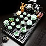 Wjvnbah Juegos de té Hogar Kung Fu té Tabla hogar Arcilla púrpura del Sistema de té de cerámica Copa Pot Set Cuatro en una Bandeja de té de Madera, Incluyendo los Conjuntos de Todo el té Sólido en la