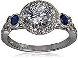 Amazon Collection Platinum-Plated Sterling Silver Swarovski Zirconia Antique Round-Cut and Created Sapphire Ring size 5