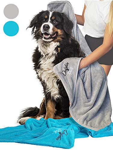 Dolphin & Dog® - superabsorbierendes Hundetuch-Set - 2 große Handtücher für Hunde - Schnelltrocknend und maschinenwaschbar - Mikrofaser-Hundetücher - Perfekte Hundegeschenke - blaugrün und Silber,
