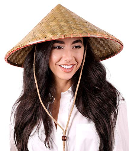 Narwhal Novelties Adult Deluxe Coolie Hat, Bamboo, Oriental Hat, Unisex