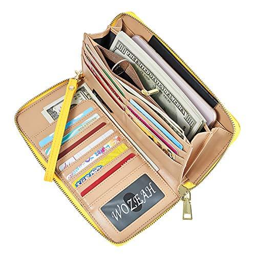 WOZEAH Women's RFID Blocking PU Leather Zip Around Wallet Clutch Large Travel Purse (vibrant yellow)
