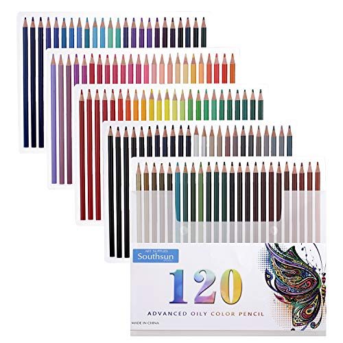 120 Oil Colored Pencils, Southsun Colored Pencils For Art Drawing, Sketching, Adult Coloring Books, Pre-sharpened, Fine Point Lead