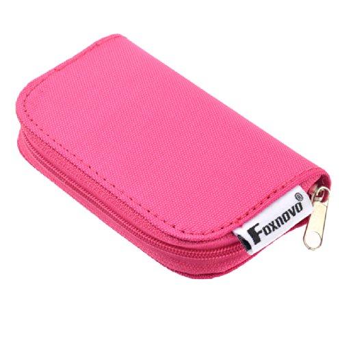 Foxnovo Foxnovo 22-Slots SD SDHC MMC CF Micro SD mémoire carte titulaire pochette affaire avec fermeture éclair stockage sac protecteur (Rosy)