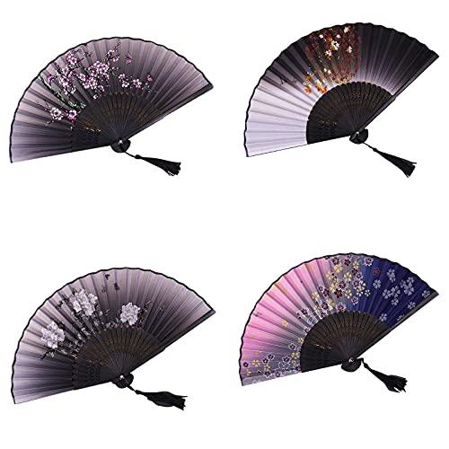 Abanico de mano de pierna de bambú largo de 4 piezas, abanico de estilo chino vintage, abanicos plegables de mano de estilo vintage, abanico de mano doblado de seda negra, para espectáculos, festival