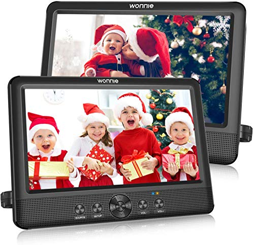 """WONNIE 10.5"""" Two DVD Players Dual Screen Portable Twins CD Player for Car Play a Same or Two Different Movies with 5-Hour Rechargeable Battery, 2 Mounting Brackets, Support USB/SD Card Reader"""