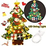 Coxeer Felt Christmas Tree, 3.28FT DIY Christmas Tree with LED String Lights 16.4 ft with 50 LEDs and 30 PCS Ornaments for Kids Xmas Gifts Home Door Wall Decoration