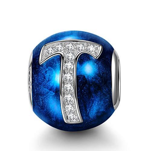NINAQUEEN Charm Pandora Adattarsi Lettera T Blu Idee Regalo Donna Argento 925 Zirconio Smalto Perline per la Madre Fidanzata Moglie