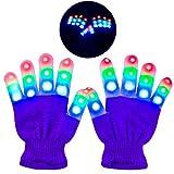 Charlemain Kinder LED Handschuhe (5-10 Jahre), 6 Modus, blinkende Handschuhe Spielzeug für Feiertag, Weihnachten, Halloween Kostüm Beleuchtung, kleine Handschuhe für Mädchen, Junge, Geschenk (Pink) -