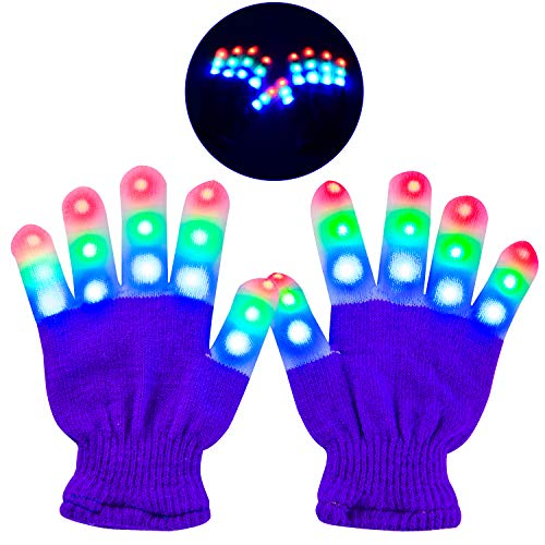 Guantes Led, Guantes Luminosos 6 Modos de Iluminación, Brillantes Adecuados para Fiestas / Festival / Baile / Halloween / Navidad / Carnaval, para Niños (5-10 Años) Púrpura