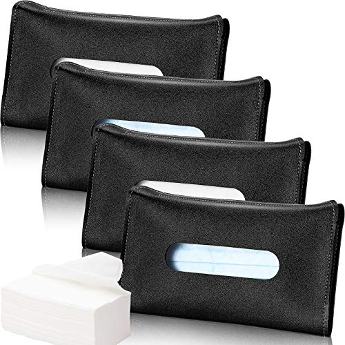 Frienda 4 Pieces Car Tissue Holder Visor Tissue Holder Sun Visor Napkin Holder, PU Leather Tissues Box, Car Visor Tissue Paper Storage Cases for Vehicle Auto (Black)