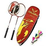LSBQQ Raquetas De Bádminton,Unisex Adulto Badminton Racket-Incluyendo Bádminton Bolsa/2 Raquetas/3 Bádminton,Rojo