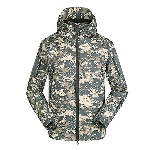 Homme Tactique Camouflage Veste Softshell Automne Hiver Outdoor Armée Militaire Polaire Doublée Blouson Imperméable Coupe A Capuche Camping Randonnée Chasse Manteau