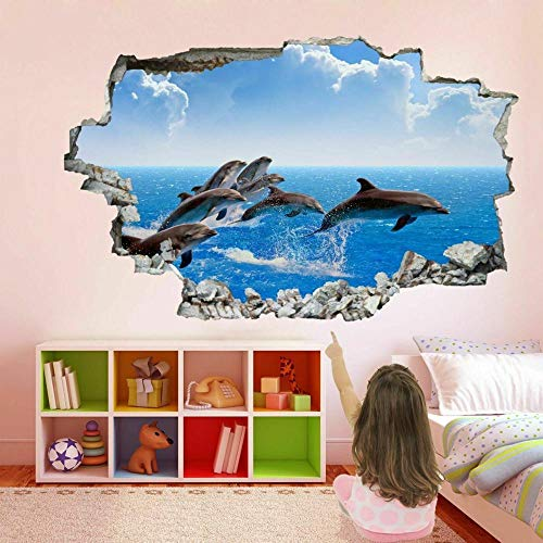 Dolphin Sea 3D Wall Art Sticker Mural Decal Poster Printing Children Room Decoration FP27