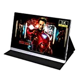 DKLGG 15.6 Inch Portable Monitor Gaming Display Portable 3K HD Led Computer Screen with Type-C Dual Mini HDMI Dual Speaker Viewing Angle Aluminum for Extending Screen