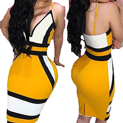 2021 Fashion Trend Women Hot Summer New Sleeveless Dress Color Deep V Neck Sexy Ladies Party Fitting Dress