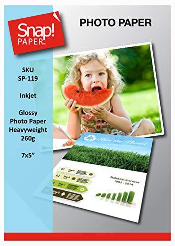 SNAP Tintenstrahl 13 x 18cm Hochglanzfotopapier 260g/qm hohe Grammatur Premium sofort trocknend und wasserabweisend x 50 Blatt SP-119-50