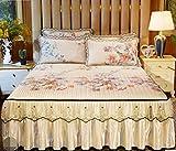 RKZM Falda de la Cama Lavado a máquina Plegable Doble Cubierta de Cama Suave Mat Matress Protector Cama Doble Cubierta de colchón Doble 180X220Cm