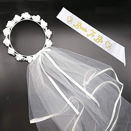 BigLion 2 Stück Hochzeit weißer Schleier Set, Hochzeit Schleier Blumen Braut Schärpe Hen Party Schärpen Bride to be Schärpe Braut Schleier für Junggesellinnenabschied Party JGA Dekoration Accessoires