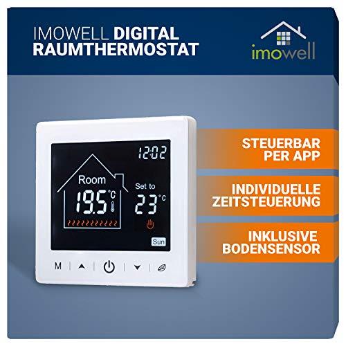 Wifi/WLAN Digital Raumthermostat Unterputz Programmierbares Wandthermostat 230V mit Steuerung per App und großem LCD Display für elektrische Heizungen und Fußbodenheizungen von imowell