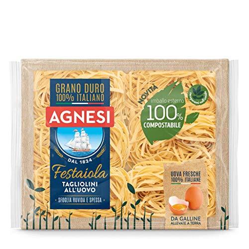 Agnesi Tagliolini all'uovo | Pasta all'uovo Festaiola | Confezione compostabile da 250 grammi