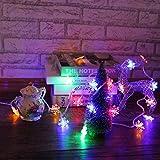Las luces LED de copo de nieve se utilizan para luces de cadena de decoración navideña en fiestas en el patio del dormitorio Batería Multicolor 6m60 leds