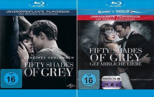 Fifty Shades of Grey - 1 Geheimes Verlangen + 2 Gefährliche Liebe (Unmaskierte Filmversion) im Set - Deutsche Originalware [2 Blu-rays]