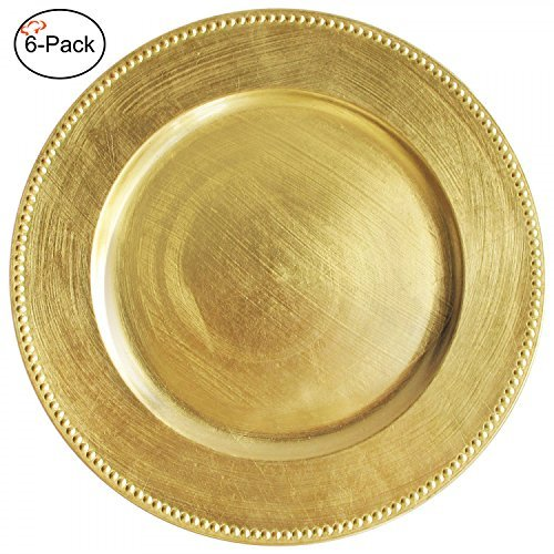 Tiger Chef Round Charger Plates Gold Beaded Dinner Chargers - 13-inch Wedding Charger Plates (6 Pack)