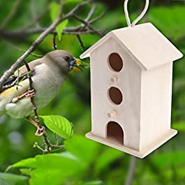 Autone Bird Feeder, Outdoor Feeding Hanging Wooden Nest House Garden Decoration Supplies