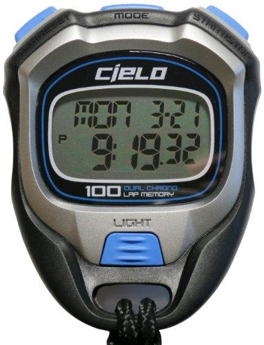 Cielo WT058 100 Laps - Cronometro Professionale con retroilluminazione, 11 x 15 x 7 cm, Colore: Nero/Blu/Grigio