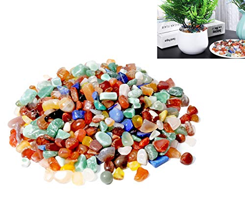 Natural Decorative Stone/for hydroponics, Potted Plants Filling Decoration, Weeding Care/Fish Tank, Aquarium Pebbles, Landscaping, Keep Water (450g Crystal Colored Stone)